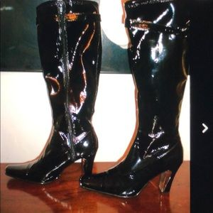 NYLA black patent knee-high boot sz 10 chrome tip